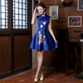 2016 Chinese Style Oriental Blue Traditional Dresses Evening Vintage Wedding Silk Dress Short Cheongsam Olympics Costumes Qipao