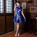 2016 Estilo Chinês Oriental Tradicional Azul Vestidos de Noite Do Casamento Do Vintage Vestido De Seda Curto Cheongsam Qipao Trajes Jogos Olímpicos