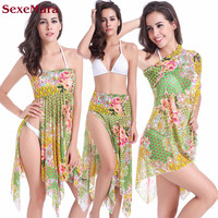 Coverups Three Kinds Of Wear Popa De Playa Mujer 2017 Sexy Print Swim Suit Cover Ups