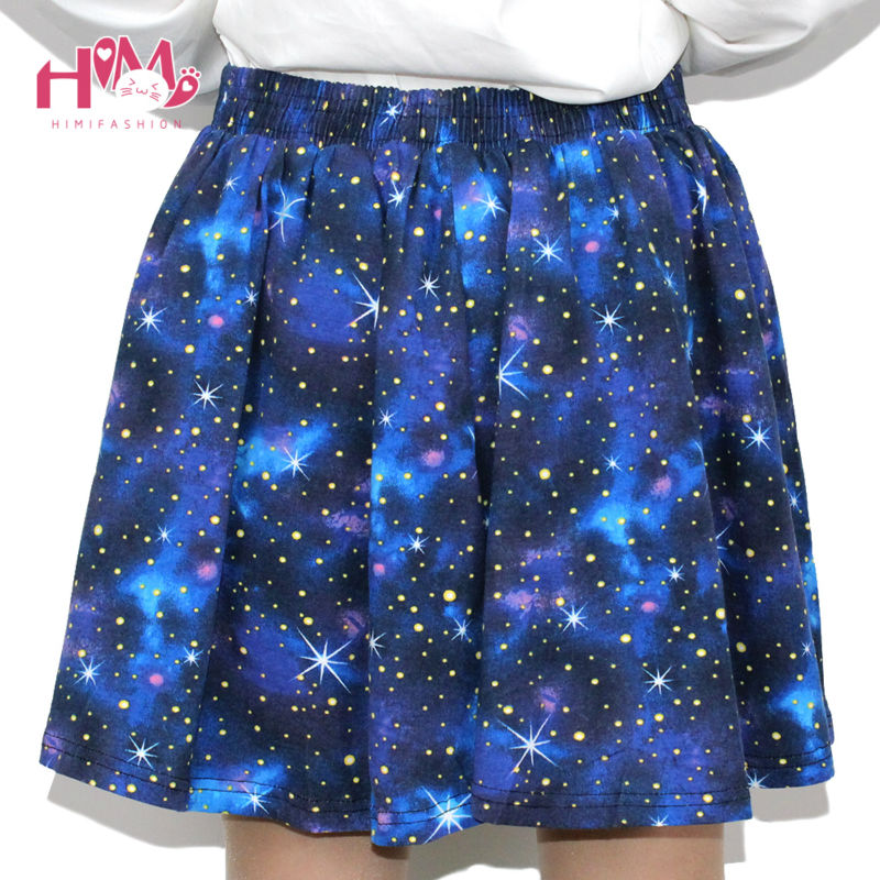 Harajuku Starry sky skirt astral print skirts summer tutu cotton skirt blue color emoji starry galaxy skirt cotton free shipping (6)