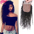 7A Kinky Curly Silk Base Closure 100% Human Hair 4x4 Silk Top Kinky Curly Closure With Baby Hair Free MIddle Or 3 Part In Stock