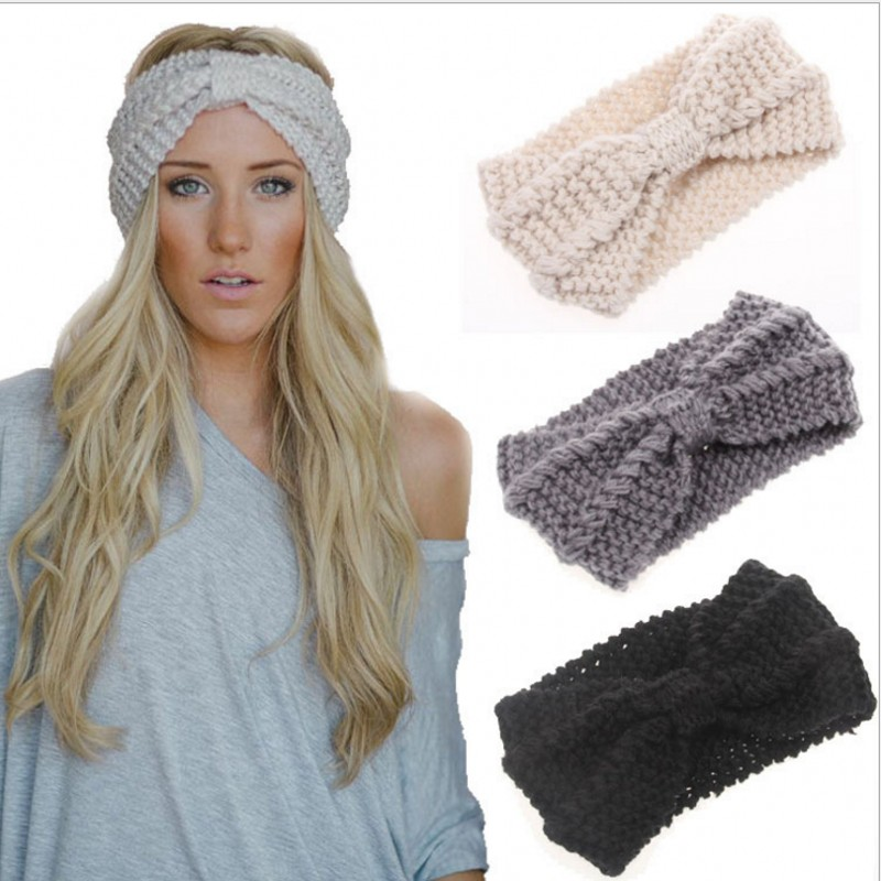 Knit headband Woman Hair accessories hair bands Wool hair band Fashion lady hair hoop bow