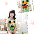 2016 новое прибытие девушки зеленая мышь футболки детские мультфильм футболка лето прекрасный топы