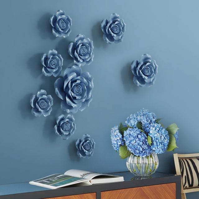 Ceramics Diy Flower Wall Stickers Creative Decor Poster For Living Room Peg To