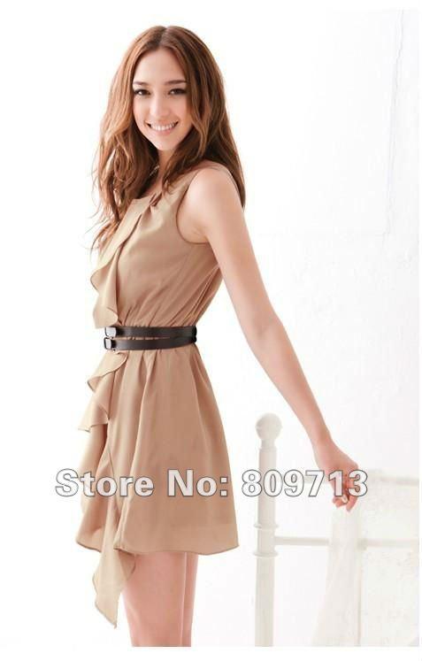 Japanese Korea Style Summer Prom Dress Falbala Sleeveless Cute Dress