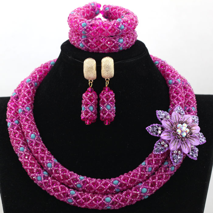 Traditional Wedding African Fashion Jewelry Set Pink Fushia Seed Beads Braid Bridal Inspired Necklace Set Free Shipping WA868
