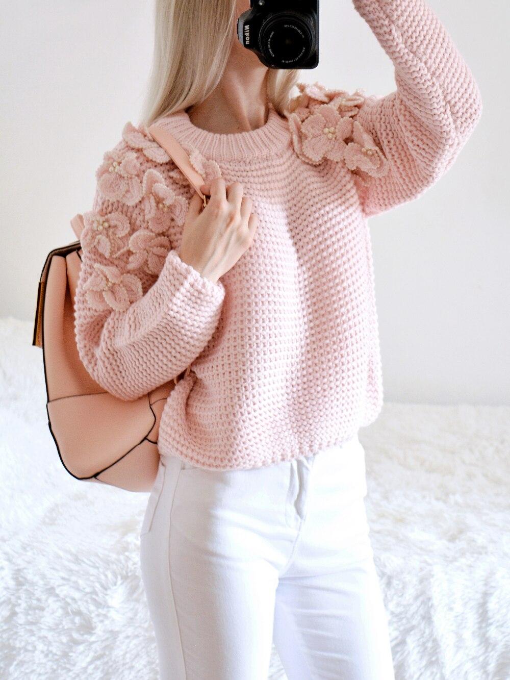 Пуловер с оригинальными декоративными цветами с Алиэкспресс