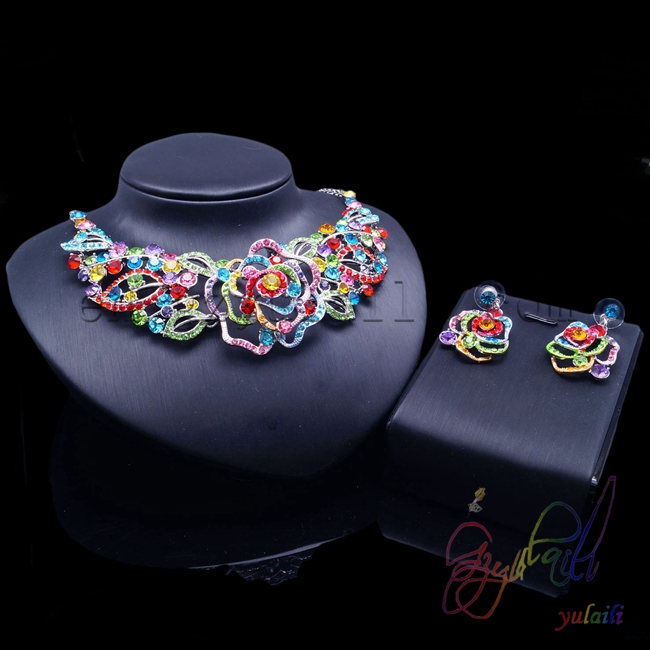 2016 fashion jewelry Bridal accessories Colorful crystal women jewelry set2016 fashion jewelry Bridal accessories Colorful crystal women jewelry set