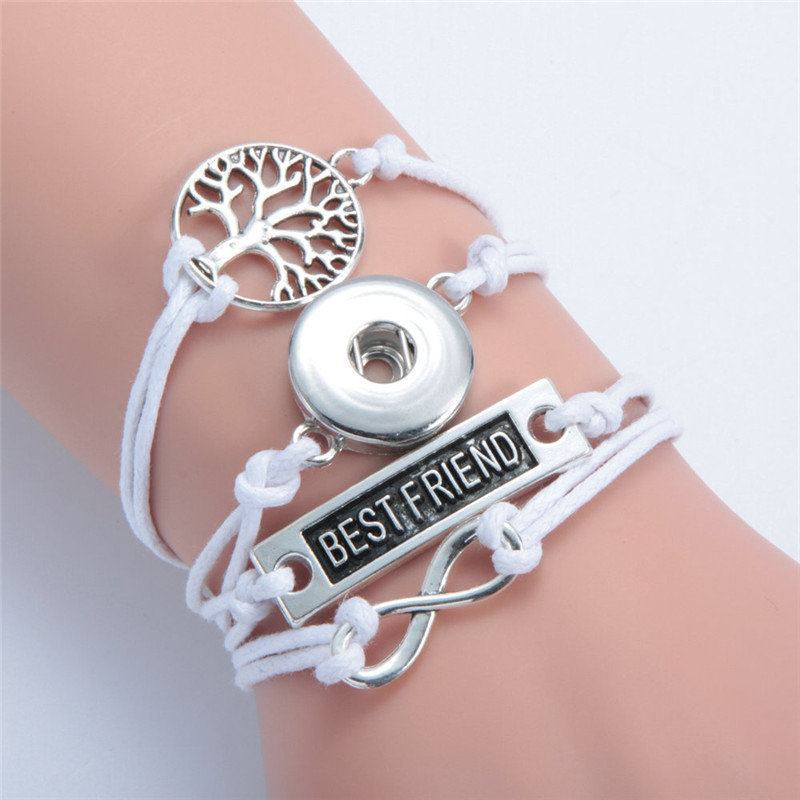 Fashion Infinity Bestfriends Life Tree Leather Metal Ginger 18mm Snap Button Interchangeable Jewelry Snaps Mulitlayer Bracelet
