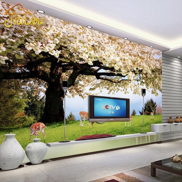 Buy custom photo wallpaper cherry tree for Tree wallpaper living room