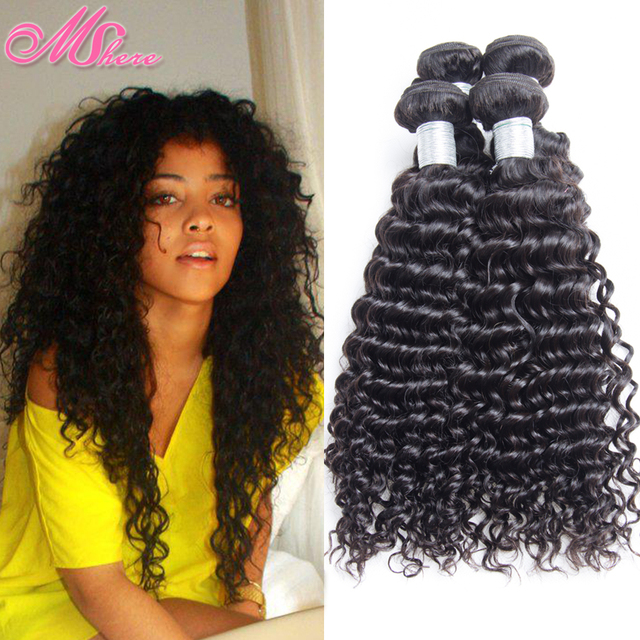 MSHere 11A Indian Curly Virgin Hair Deep Wave Unprocessed Human ...