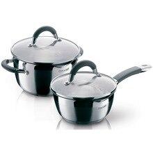 Набор посуды Rondell Flamme RDS-340 (Высококачественная нержавеющая сталь, кастрюля с крышкой 20 см (3.2 л), ковш с крышкой 16 см (1.3 л))