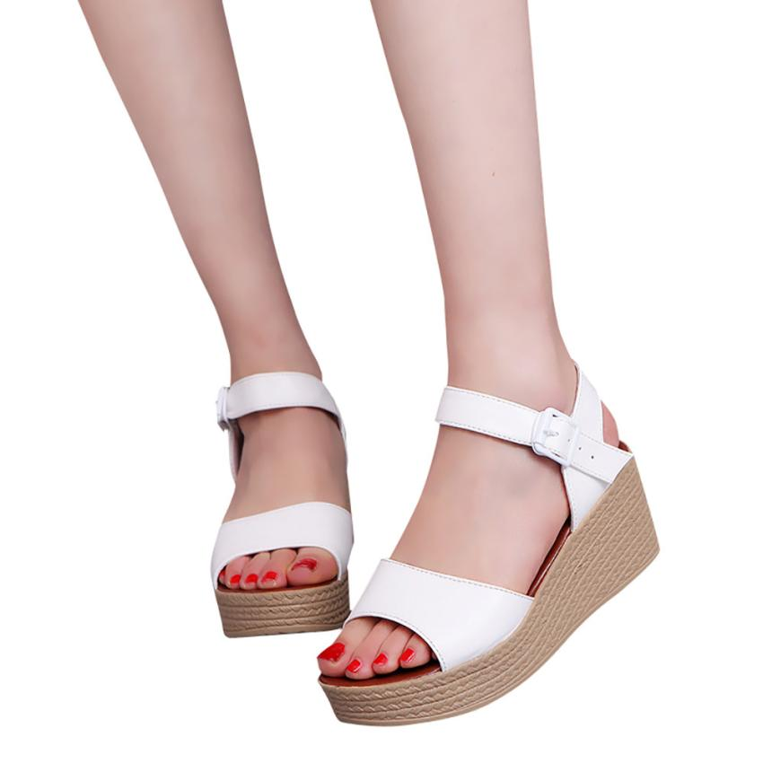 Women Sandals Open Toe High Heels Summer Sandals Women Ankle Strap PU Leather Wedges Shoes Woman zapatos mujer chaussure femme 2017 summer shoes woman platform sandals women soft leather casual open toe gladiator wedges slides women shoes zapatos mujer