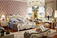 Роскошный Европейский классический стиль резьба по дереву мебель для спальни набор с 1,8 м натуральная кожа кровать, тумбочка, комод и скамей
