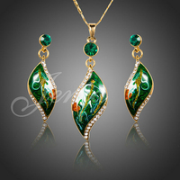 18K Real Gold Plated Green Oil Painting Pattern Austrian Crystal Drop Jewelry Sets Brand New Design