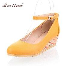 Meotina Größe 34-43 Tropfen-verschiffen Frauen Schuhe Süße Keile Heels Knöchelriemen Pumps Damen Schuhe Weiß Apricot Gelb Größe 9 10