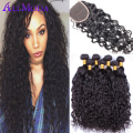 5PCS/lot Malaysian Water Wave 4 bundles with Closure 7A Ali Moda Malaysian virgin hair Wet and Wavy Curly human hair Extensions