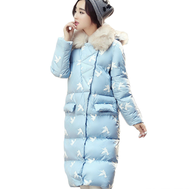 цены  Parka Women Thick Jacket Coat 2016 Winter New Big Fur Collar Hooded Slim Thin Long Padded Jacket Coat Female LH379