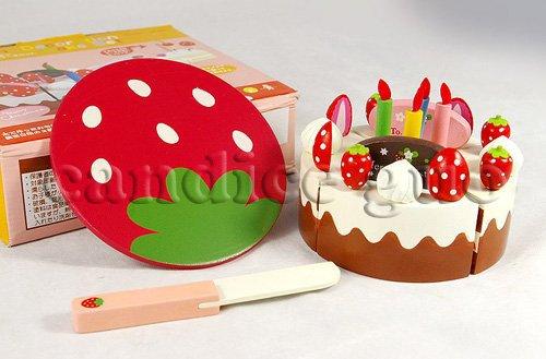 Игрушек! Горячая деревянный игрушечный театр эмультационный красный клубника с днем рождения торт вырезать День рождения Рождественский подарок 1