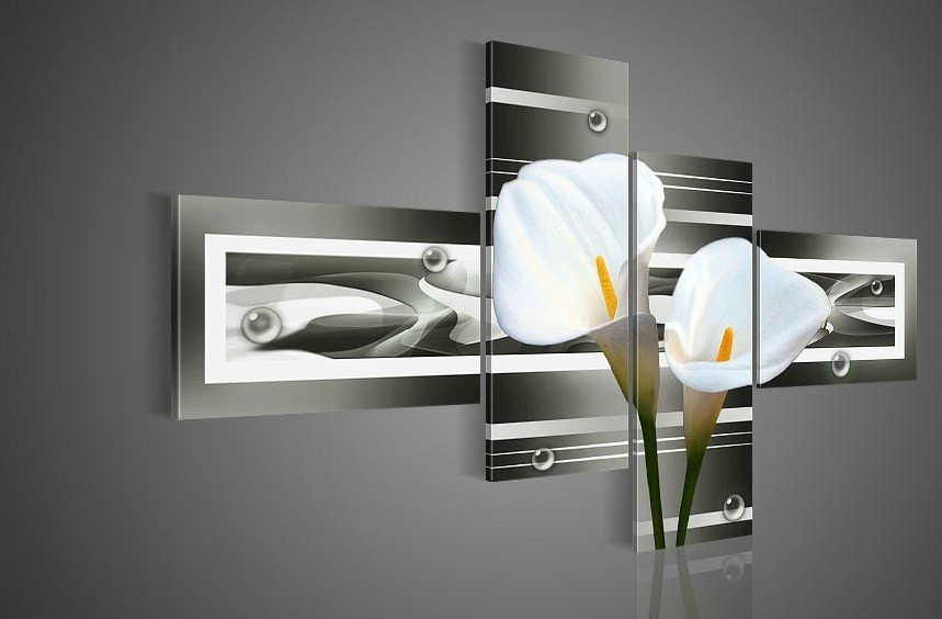Hand painted wall art black pure white lilies flowers home decoration landscape oil painting on canvas 4pcs set wood framed in painting calligraphy from