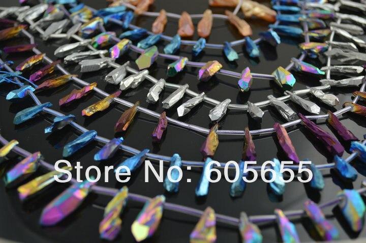 Смешанный цвет гальванический Кристал острый грубый свободный гальванический бисер Малый размер 20~ 30 мм длина 5 нитей/Лот