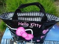 черная сумка кошелек розовым бантом привет котенок обед сумка