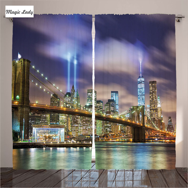 Curtains New York City Living Room Bedroom Manhattan Skyline Brooklyn Bridge Light Puple Green Decor 2