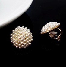 clip on earrings for women party wedding brincos boucle d'oreille Round pearl ball no pierced earrings painless ear clip