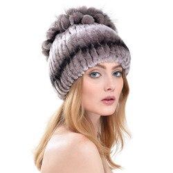 Knitted Rex Rabbit Fur Hat With Fox Fur Flowers Caps Super Elastic Women 2016 New Fashion With Fur Lining Winter Warm Cap LH346