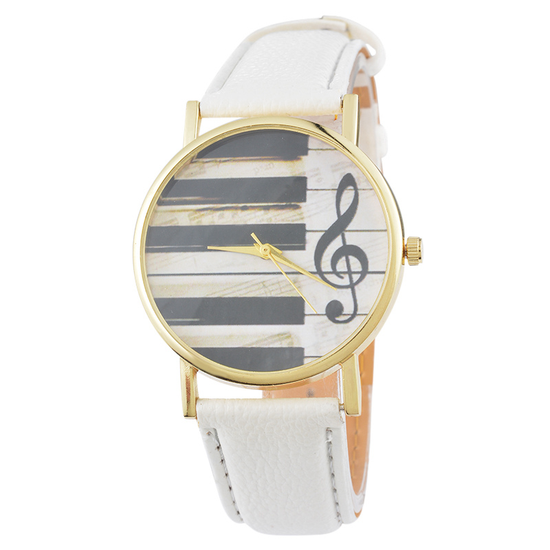FUNIQUE 2017 Hot Sale Casual Women Dress Watch Musical Notes Women Men Leather Band Quartz Wrist Watches Ladies Clock Hour Gift