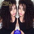 7A Glueless cordón del pelo humano pelucas para mujeres negras del pelo virginal peruano ondulado y rizado encaje frente peluca de cabello humano 180% densidad
