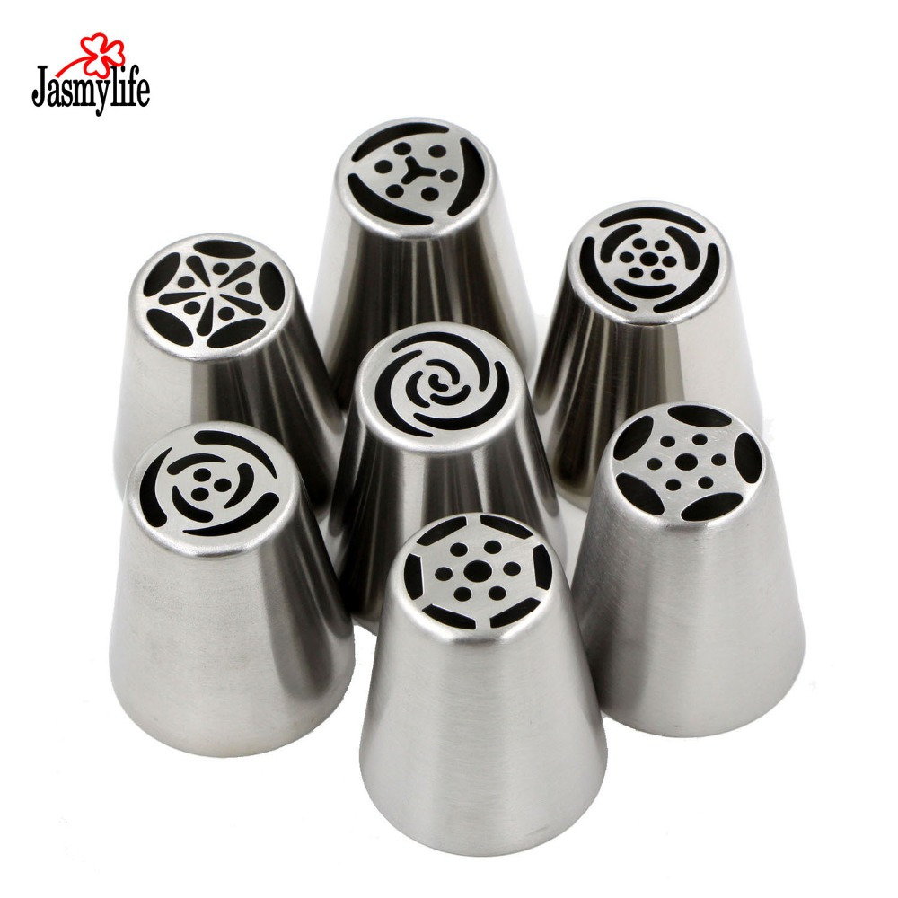Pastry Tips Set 7pcs Stainless Steel Russian Nozzles Icing Kit Further Master Appliance Heat Gun On 120v Tape Wiring Fondant Piping Cake Decorating Rose Tulip Shaped