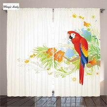 animales cortinas del dormitorio sala de estar de verano floral adornos loro rama de rbol decoracin