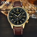MCE Black Dial Mechnical Watch Leather Strap Wrist Watch Men jaragar luxury gold watches with original gift box 322