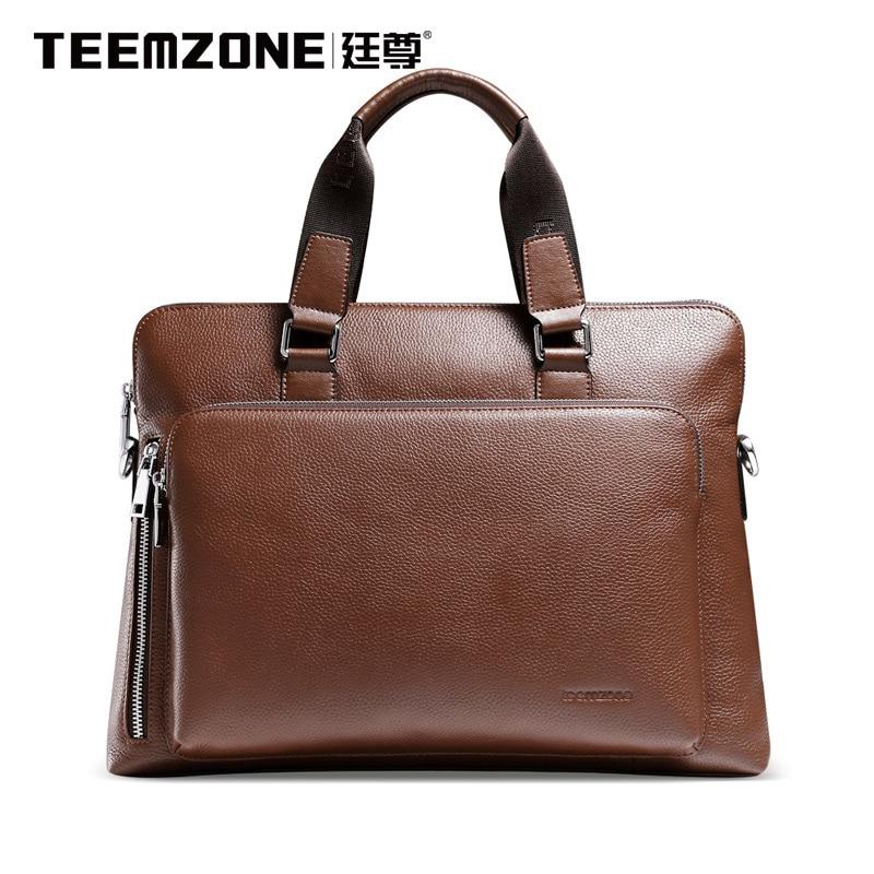 2017 Teemzone Brand Handbag Men Shoulder Bags Leather Genuine Business Travel Messenger Bag Men's Briefcase Cowhide Tote Bag
