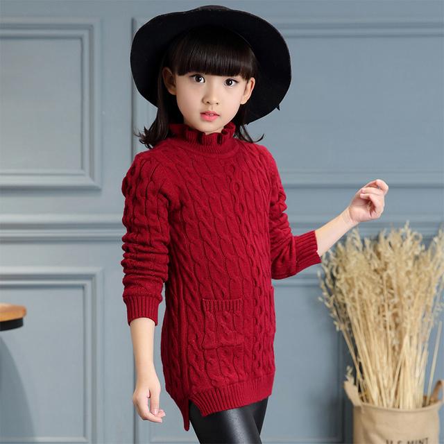 Blusas de inverno meninas espessamento crianças crianças malha pullovers camisolas quente cor sólida para meninas miúdos outwear encabeça trajes
