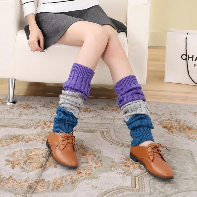 Princesa dulce lolita medias del otoño engrosamiento del estilo del invierno cálido prolongado tricromática de la raya floja knitting medias GXW62