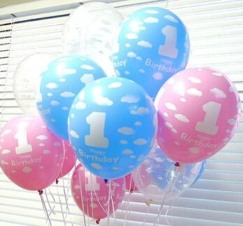 50pieces/lot High Quality 12inch 1st Birthday Balloon Latex Printing Pearl Ballo