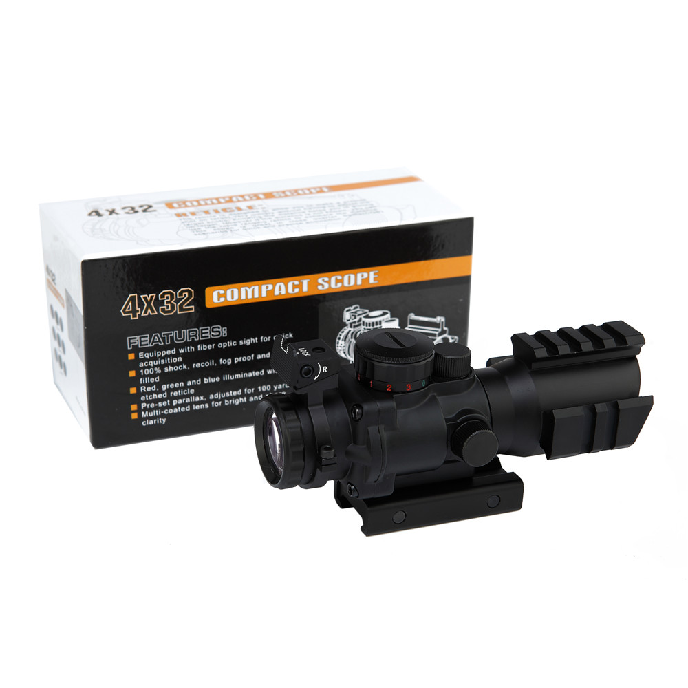 Tactical Hunting 4X32 Tactical Rifle Scope W/ Tri-Illuminated Reticle Optic Sight Scope Rifle/Airsoft Hunting tactical 4x32 compact rifle scope w tri illuminated reticle optic sight airsoft hunting riflescope