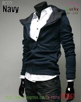 мужская свитер мода новый высокий воротник куртка с капюшоном мужчины пальто ja04 черный браун красный бесплатная доставка