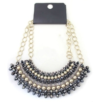 золотой блестящий-черных ожерелье из бисера преувеличены личности оптовая продажа