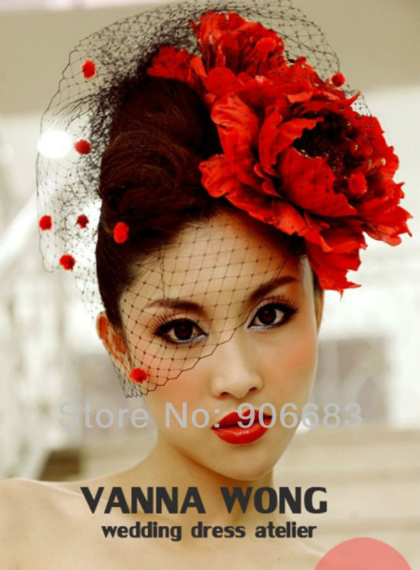 2017 New Arrival Red Surface Modeling Mesh Gauze Mask Veils Bridal Bride Birdcage Wedding Veil Free Shipping Hoting In From Weddings