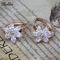 New Famous Brand Fashion Woman Jewelry Big Earings  Cubic Zirconia Best  Friends Earing Flower Hoop Earrings(E0003)