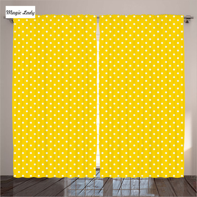 Yellow Curtains Art Decor Collection Polka Dot Print Vibrant Vintage Fashion Texture Living Room Bed
