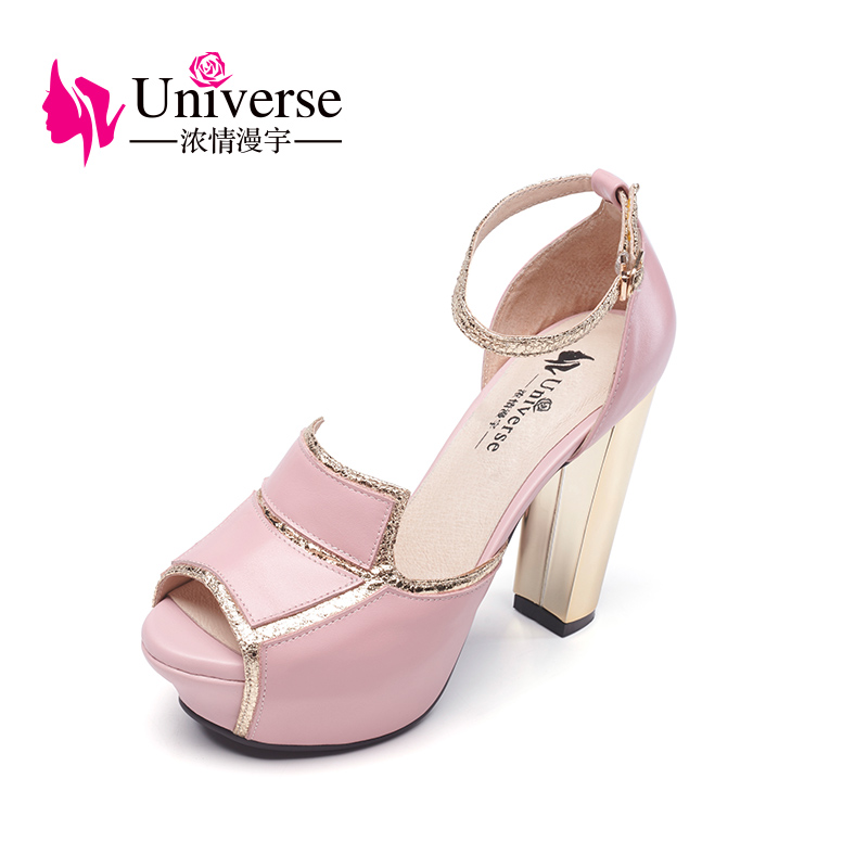 Universe Platform Shoes Woman Fashion Party Sandals Ankle Strap sexy Super High Heel Genuine Leather Shoes G018 flock leather women ankle strap high heel sandals platform sexy fashion party shoes for woman black with 10cm heels ch a0060