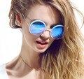 Новый марка женщин-большое каркас круглые очки ретро за размер круг сем-драгоценный полуободковые солнцезащитные очки 5 цветов бесплатная доставка