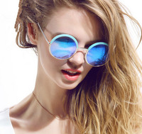New Brand Women Big Frame Round Sunglasses Retro Over Size Circle Sem-Rimless Sun Glasses 5Colors Free Shipping