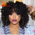 Full Lace Human Hair Wigs With Bangs For Black Women Kinky Curl Lace Front Wig With Baby Hair Curly Brazilian Virgin Lace Wig
