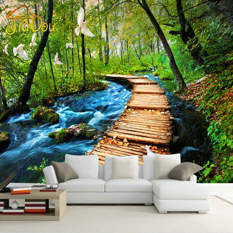 Custom 3d photo wallpaper forest nature scenery large wall for Nature wallpaper for bedroom