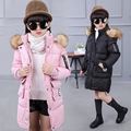3Colours Children Long Wadded Jacket Outerwear Medium-Long Thickening All-match girl Cotton Child Cotton-Padded Jacket for 4-15T